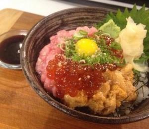 Negi Otoro Don with Ikura and Quail egg